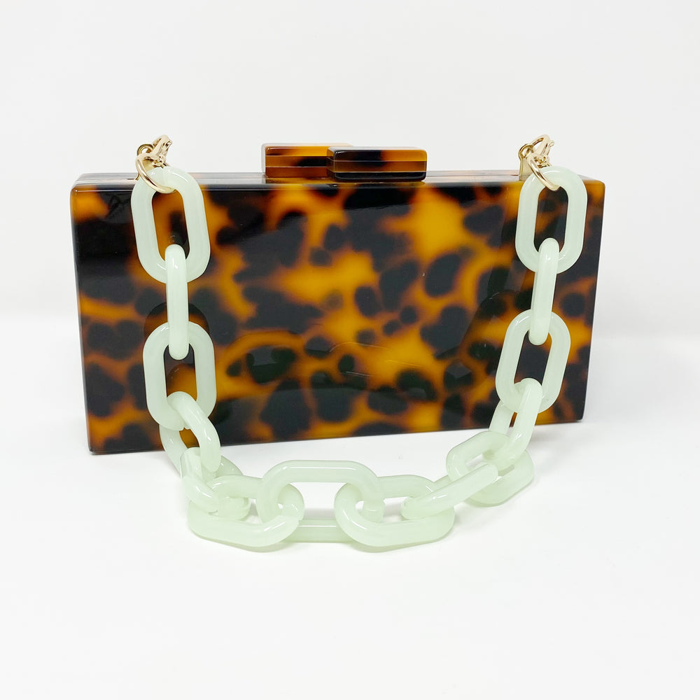 Super Short Chain Link Acrylic Purse Strap in Jade