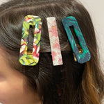 Hair Clip Trio in Pink and Green
