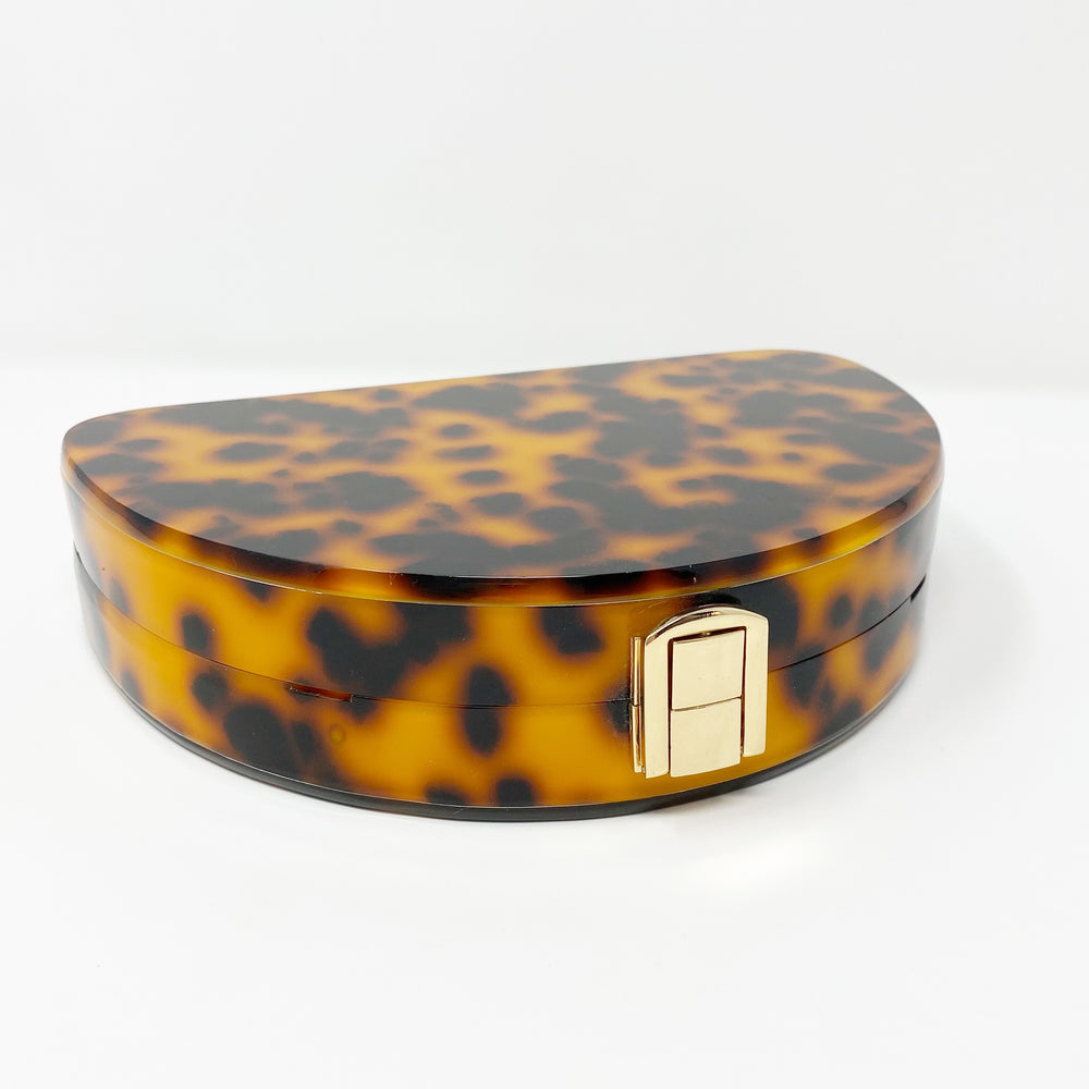 Acrylic Half Moon Party Box in Tortoise