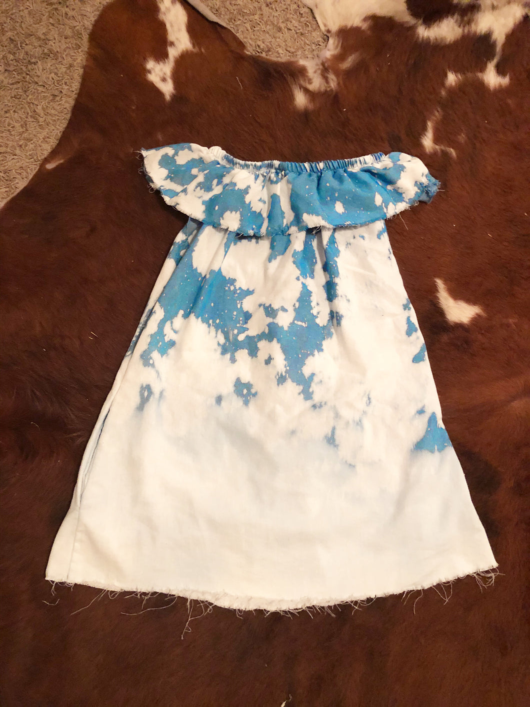 "The ""Pretty Lady"" Hand Distressed Off-the-shoulder Dress"