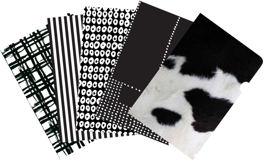 Monochrome mixed pack of 5 document covers