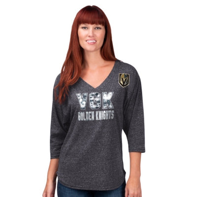 Vegas Golden Knight 3/4 Sleeve Sequin Shirt