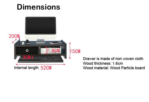 dimension for model F, LED stand with drawer