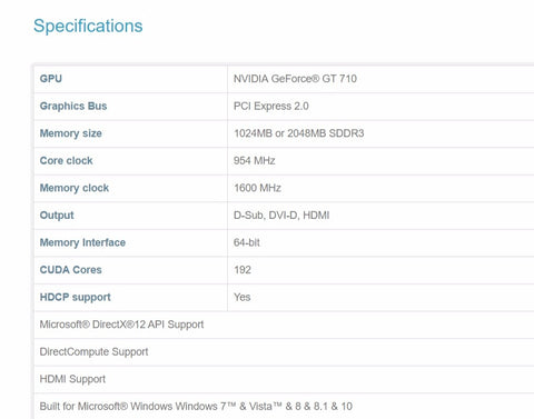Nvidia GT710 specifications