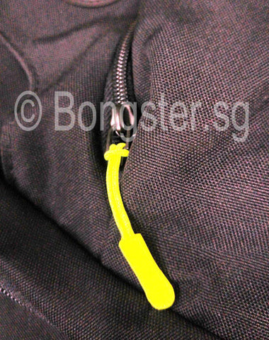 zipper pulls in use on bag