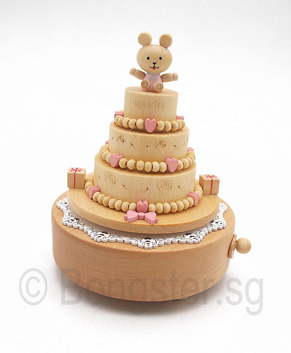 Wooden Music Box Bear On Birthday Cake YP1513