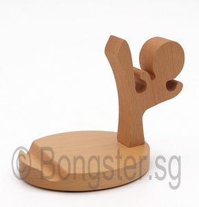 Wooden smartphone tablet holder stand Kicking Boy