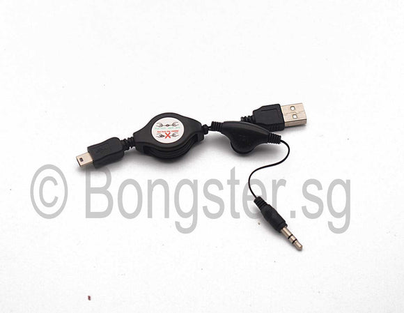 Retractable mini USB Male to USB type A Male with audio cable