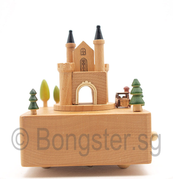 Wooden Music Box Car Around Castle YP1510