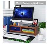 Sturdy 2 level wooden monitor riser LCD / Led Ergonomic stand with drawer, Model F