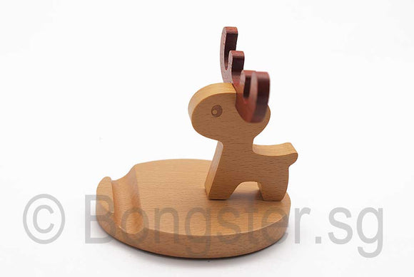 Wooden smartphone tablet holder stand Reindeer