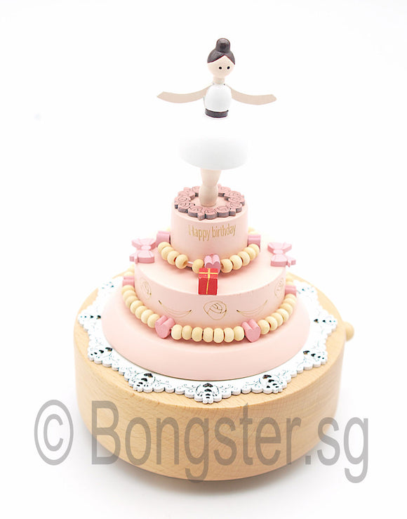 Wooden Music Box Birthday Cake with Girl YP1531