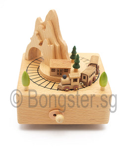 Wooden Music Box Train Around Mountain YP1520