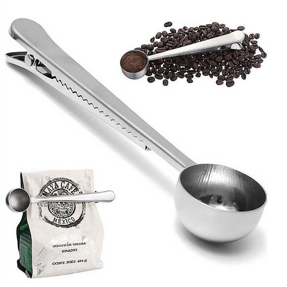 Stainless Steel Ground Coffee Measuring Spoon with Bag Clip - The Home Retreat Store