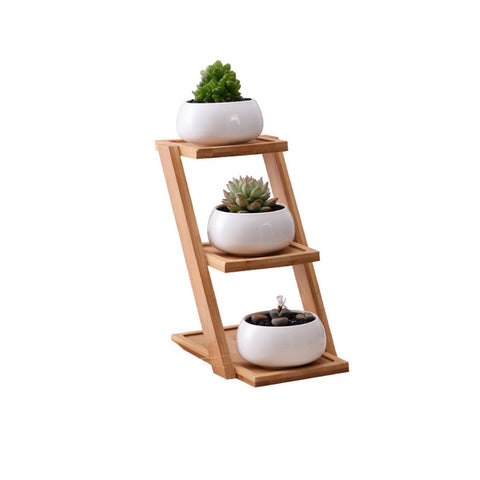 Small Round White Ceramic Succulent Plant Pot Planter with Bamboo Tray  (Set of 3 - Plants not included) - The Home Retreat Store