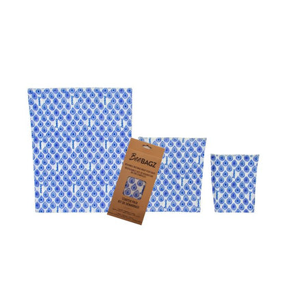BeeBagz, Reusable Starter Pack Beeswax Food Bags | Blue