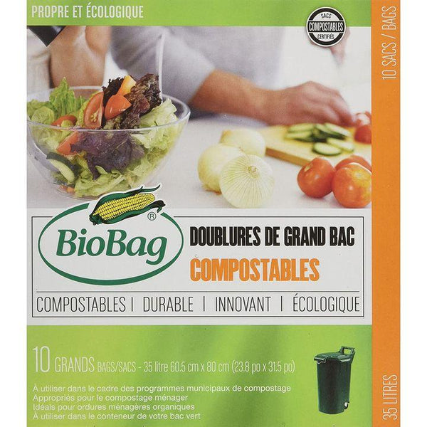 BioBag, Compostable Tall Bin Liners, 35L (Pkg of 10)