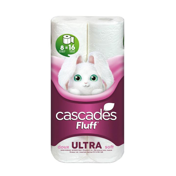 Cascades, Fluff Ultra 2-Ply Toilet Paper (165 Sheets x 8 Rolls)