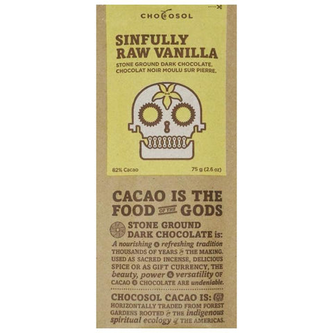 Chocosol, Sinfully Raw Vanilla Dark Chocolate (75g)