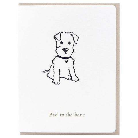 Dogwood Letterpress, Bad To The Bone Puppy Greeting Card