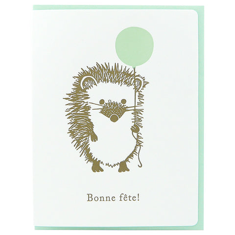 Dogwood Letterpress, Bonne Fête Hedgehog Greeting Card