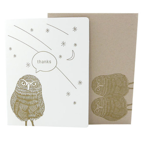 "Dogwood Letterpress, Burrowing Owl ""Thanks"" Greeting Card"