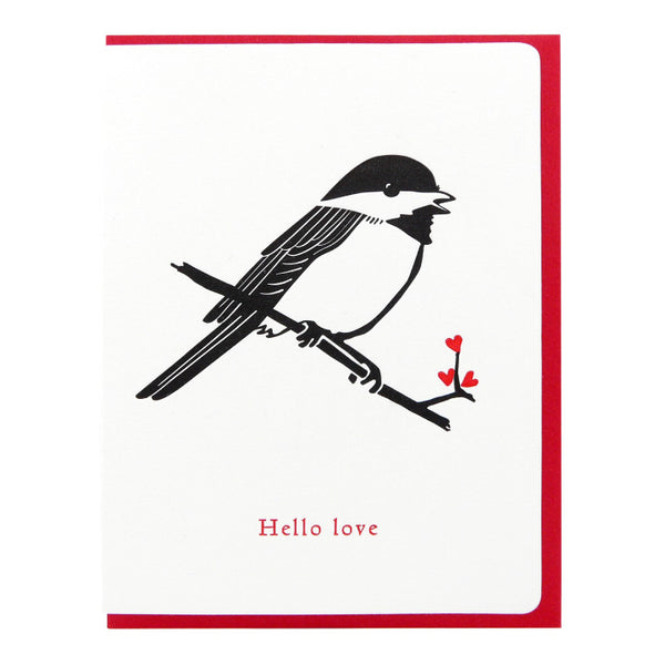 Dogwood Letterpress, Chickadee Hello Love Greeting Card