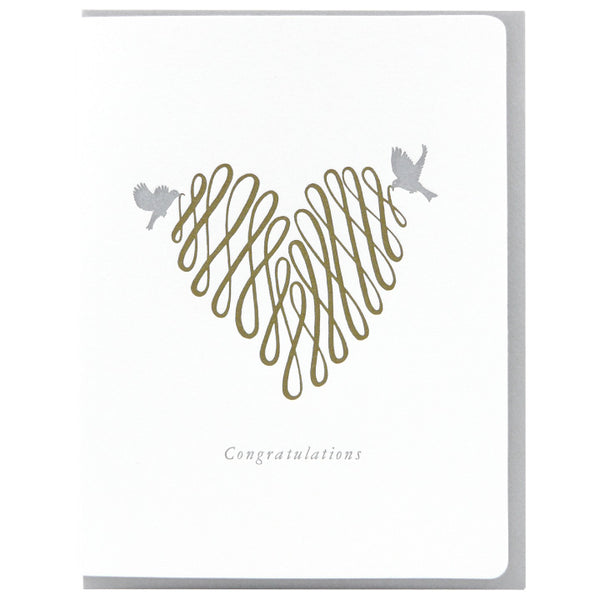 Dogwood Letterpress, Congratulations Heart Greeting Card