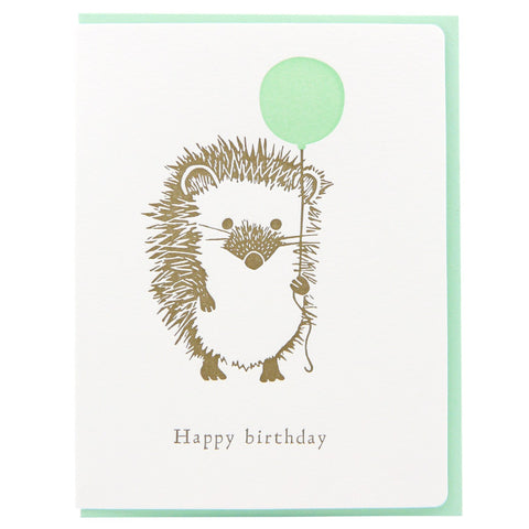 Dogwood Letterpress, Hedgehog Ballon Greeting Card