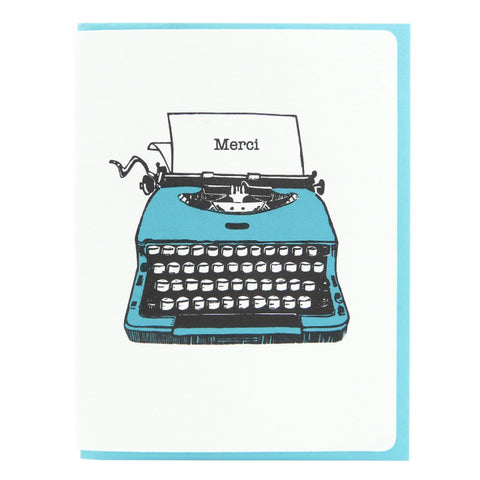 Dogwood Letterpress, Merci Typewriter Blue Greeting Card