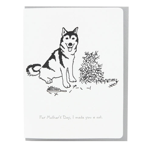 Dogwood Letterpress, Mother's Day Husky + Cat Greeting Card