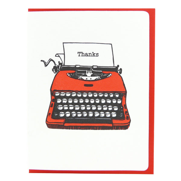 "Dogwood Letterpress, Red Typewriter - ""Thanks"" Greeting Card"