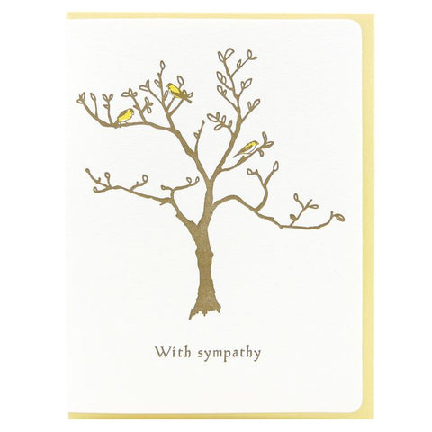 Dogwood Letterpress, Sympathy Finch Tree Greeting Card