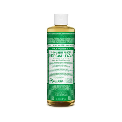 Dr. Bronner's, 18-in-1 Pure-Castile Liquid Soap – Hemp Almond (473mL)