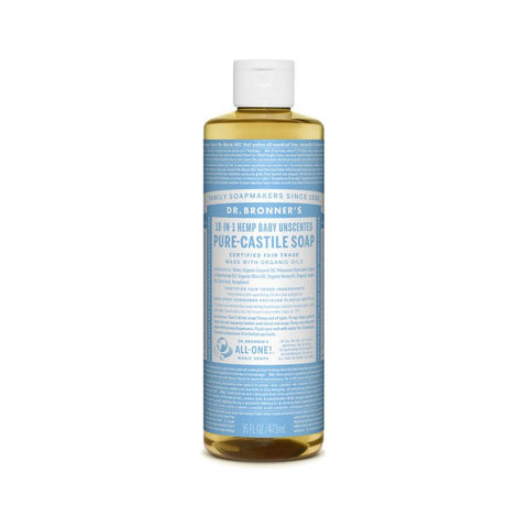 Dr. Bronner's, 18-in-1 Pure-Castile Liquid Soap – Hemp Baby Unscented (473mL)