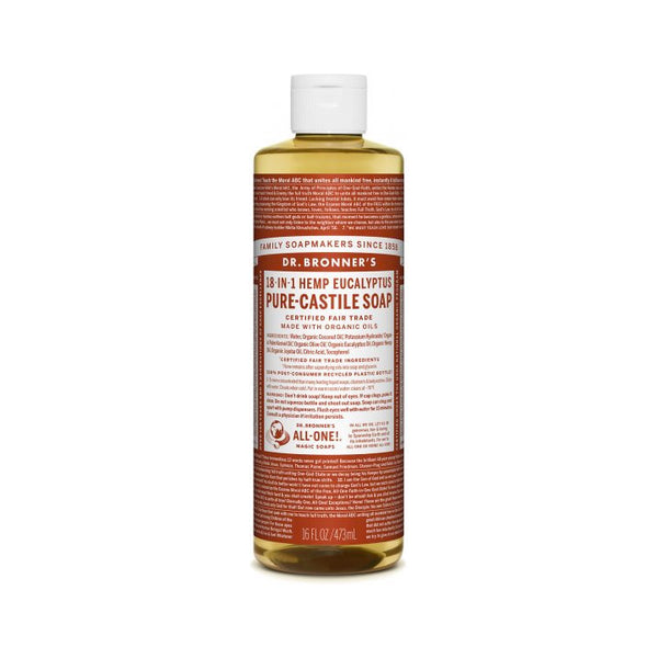Dr. Bronner's, 18-in-1 Pure-Castile Liquid Soap – Hemp Eucalyptus (473mL)