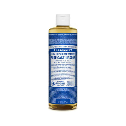 Dr. Bronner's, 18-in-1 Pure-Castile Liquid Soap – Hemp Peppermint (473mL)