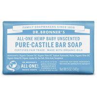 Dr. Bronner's, 18-in-1 Pure-Castile Soap Bar – Hemp Baby Unscented (140g)