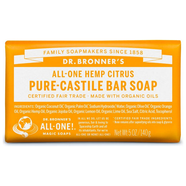 Dr. Bronner's, 18-in-1 Pure-Castile Soap Bar – Hemp Citrus (140g)