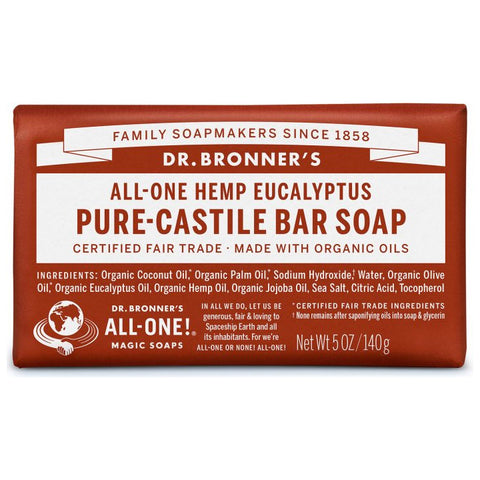 Dr. Bronner's, 18-in-1 Pure-Castile Soap Bar – Hemp Eucalyptus (140g)
