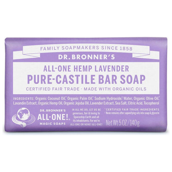 Dr. Bronner's, 18-in-1 Pure-Castile Soap Bar – Hemp Lavender (140g)