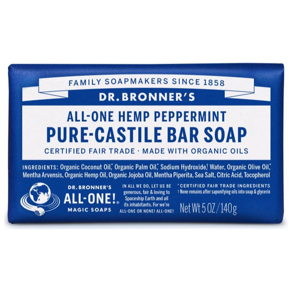 Dr. Bronner's, 18-in-1 Pure-Castile Soap Bar – Hemp Peppermint (140g)