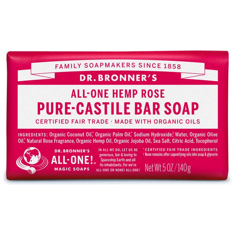 Dr. Bronner's, 18-in-1 Pure-Castile Soap Bar – Hemp Rose (140g)