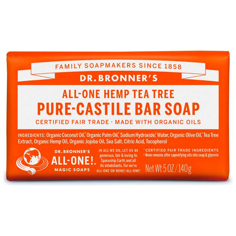 Dr. Bronner's, 18-in-1 Pure-Castile Soap Bar – Hemp Tea Tree (140g)