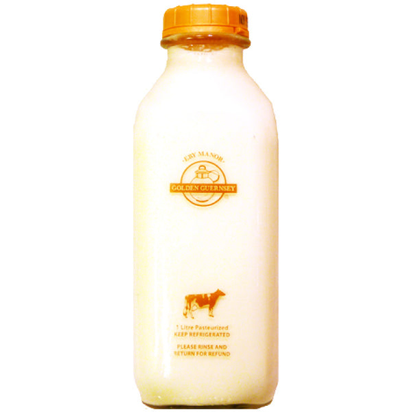 Eby Manor Golden Guernsey, 4.8% Non-Homogenized Milk - Glass Bottle (1L)