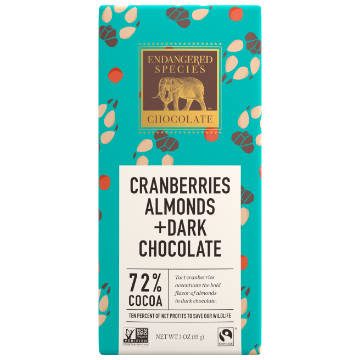 Endangered Species: Dark Chocolate w/ Cranberries & Almonds (85g) | 72% Cacao