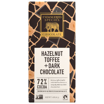 Endangered Species: Dark Chocolate w/ Hazelnut Toffee (85g) | 72% Cacao