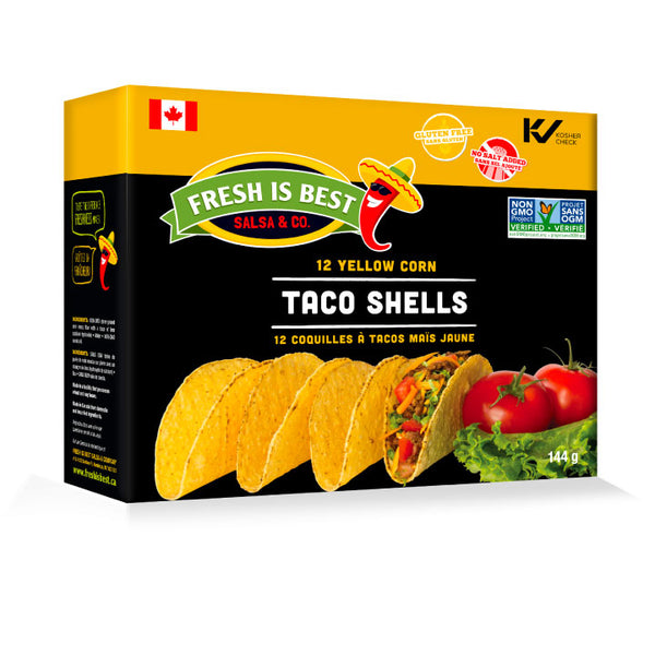 Fresh is Best, Stoneground Yellow Corn Taco Shells | 12 Shells/Box (144g)