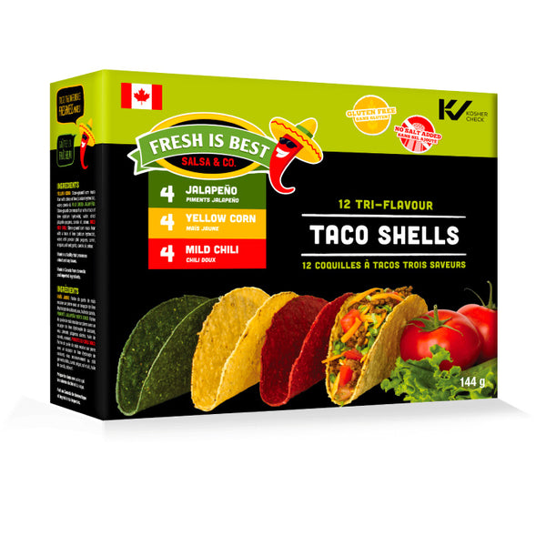 Fresh is Best, Tri-Flavour Taco Shells | 12 Shells/Box (144g)