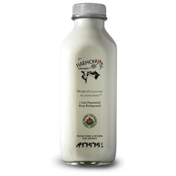 Harmony Organic Dairy, 1% Partly Skimmed Milk - Glass Bottle (1L)